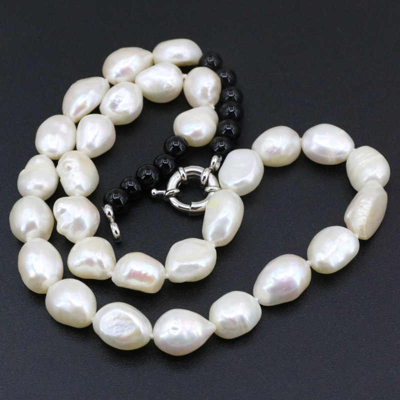 Wholesale Price Freshwater Pearl Jewelry Necklace For Women Natural Pearl Irregular 10-12mm Beads Strand Necklaces 18inch B3399