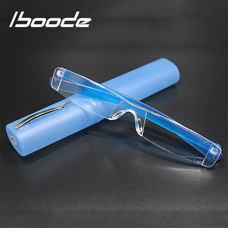 Iboode rahat Ultra hafif okuma gözlüğü erkekler kadınlar okuma gözlüğü presbiyopi 1.0 1.5 2.0 2.5 3.0 3.5 4.0 gözlük kılıfı