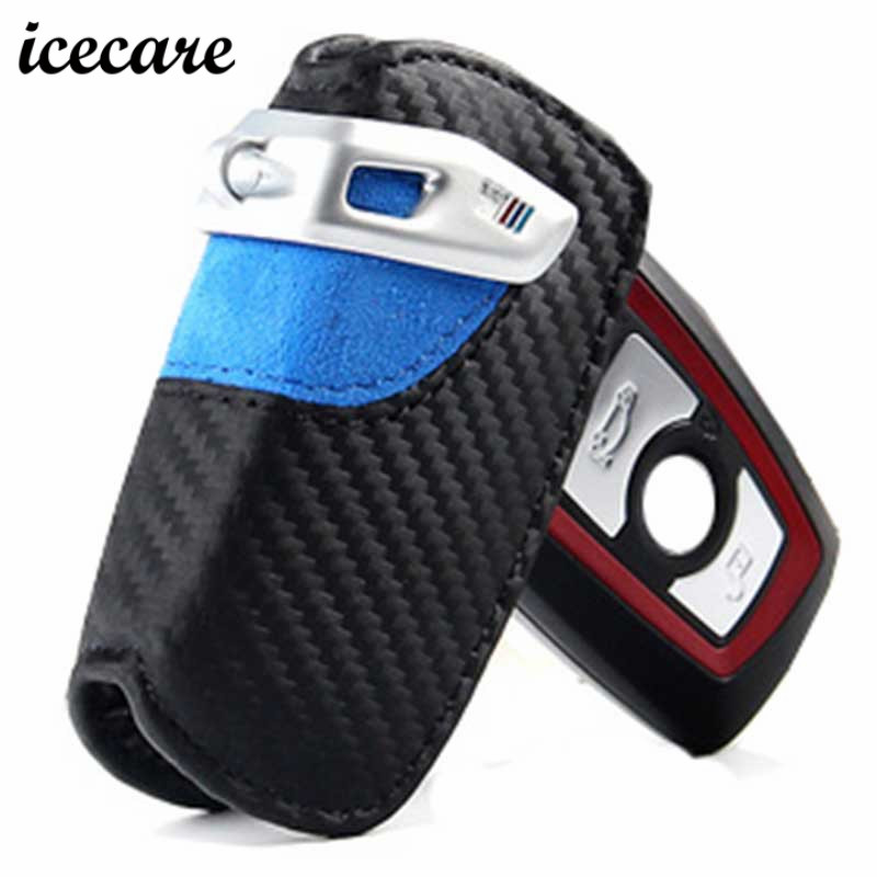 Icecare Carbon Fiber Car Leather Key Case Cover For BMW E90 E34 3 5 M1 M2 M3 F10 F20 F30 X1 X6 X5 Key Case Holder Cover For Bmw 2016 100% carbon fiber car auto remote keyless entry key case cover fob holder shell for jaguar xe xf xj xjl xk f type f pace
