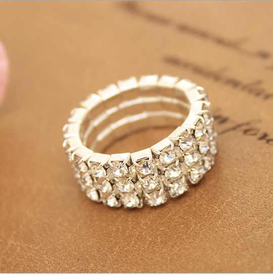 J599 ผู้ผลิตขายส่งเกาหลีแฟชั่นคริสตัล-encrusted ยืดหยุ่น hipster แหวน