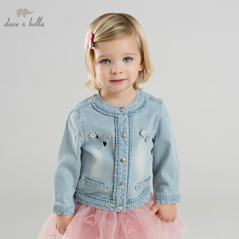DB9953 dave bella spring baby girl lovely jacket children fashion outerwear kids light blue coat
