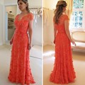 Salmon V Neck Cap Sleeve Lace Prom Dress With Flower Petals Vestido De Festa Long Formal Dress