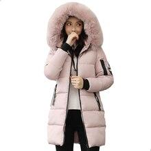 Envío libre Chaqueta de invierno mujeres con capucha con Cuello de piel abrigo largo algodón acolchado Mujer Parka Outwear Chaqueta Mujer