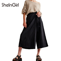 SheInGirl Fashion Wide Leg Women Solid Black Pants Lace Up One Side Ruffles Female Casual Cotton Trousers Mid Rise Buttoms