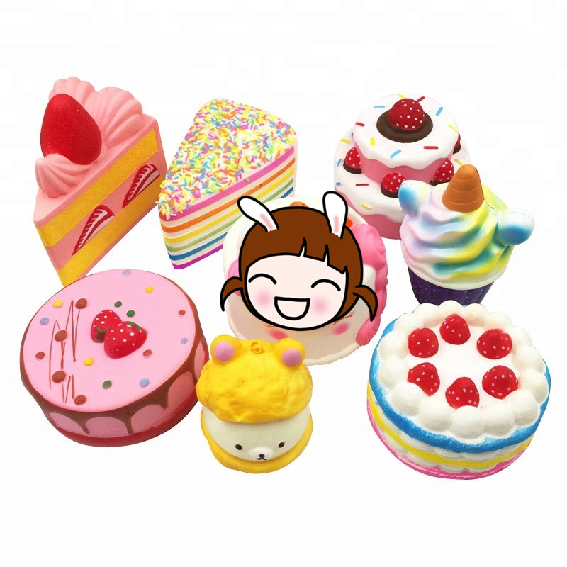 Kawaii Squishy PU Foam Scented Soft Cake Bread Strawberry Unicorn Slow Rising Cute Squishies Squeeze Gift Toys For Kids