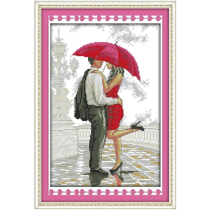Un Romantique de Marche sous la Pluie Compté Point De Croix 11CT 14CT Point De Croix Ensemble En Gros Croix-Kit point de Broderie couture