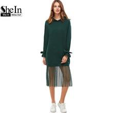 SheIn Clothes Women Casual Dress for Woman Ladies Midi Dress Green Belted Cuff Dotted Mesh Trim Hoodie Sweatshirt Dress