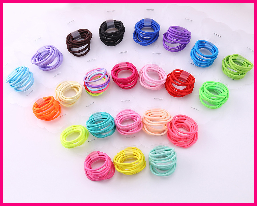 100PCS 2mm*7.0cm length Mini colorful Kids Elastic Ponytail Holders hair ties with glue connection,thumb size elastic hairband