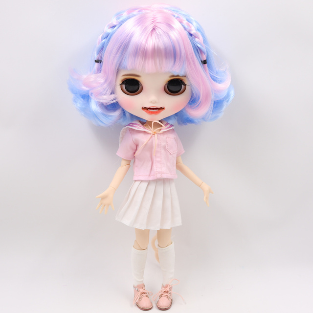 Factory Neo Blythe Dolls Pink Blue Hair Jointed Body 30cm