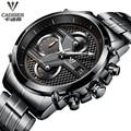 Luxury Brand cadisen men Quartz Watch Leather Clock Full Steel Watch Reloj Men Casual Business Wristwatch Relogio Masculino