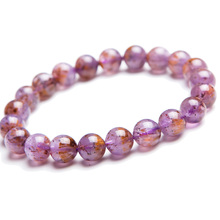 9mm Genuine Natural Cacoxenite Purple Rutilated Quartz Bracelets Women Men Stretch Crystal Round Beads Bracelet AAAA