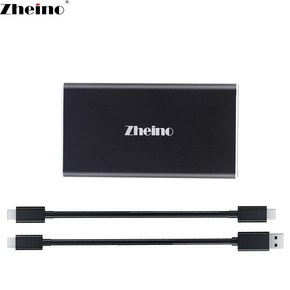 Zheino USB3.1 SSD 128GB 256GB 512GB External Hard Drive OTG with cables External Storage Aluminum Case For Desktop Laptop