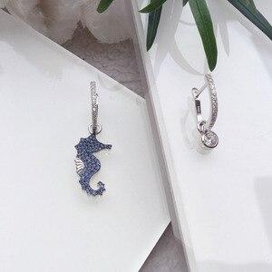 Image 4 - SLJELY boucles doreilles AB en argent Sterling 925 véritable, bleu, asymétriques, Micro pierres en zircone cubique, bijoux de fête, pour femmes