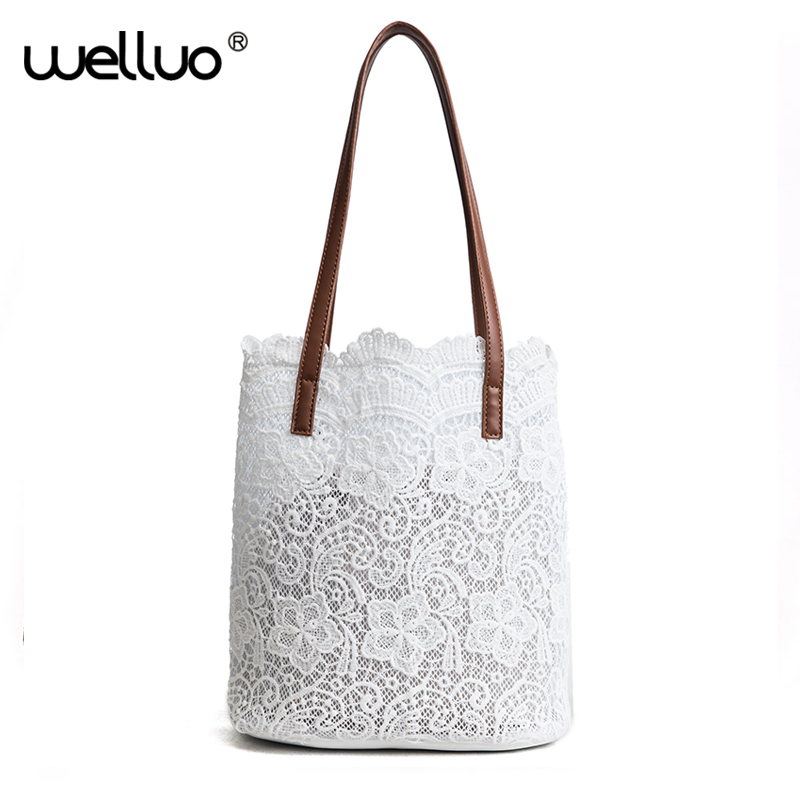 Summer Lace Shoulder Bag Women White Black Bucket Handbag Drawstring Large Tote Bags sac a main Casual Female Hand Bag XA339WB handbag