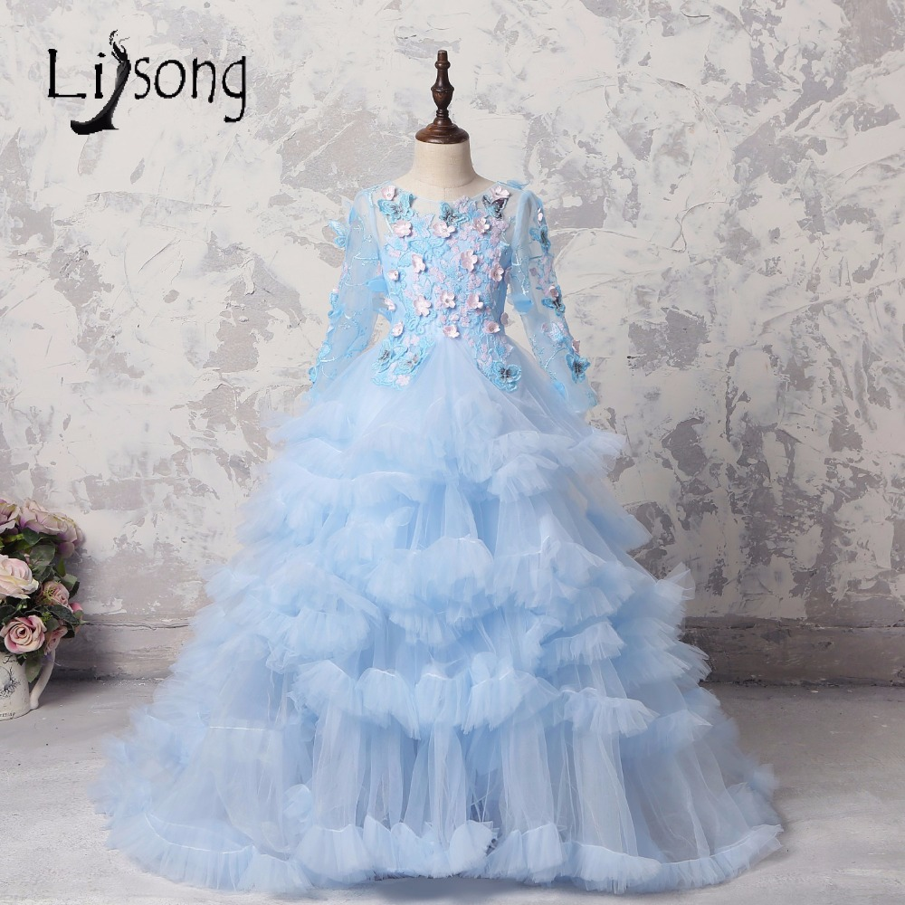 Sky Blue 3D   Flower   Puffy Tulle   Flower     Girl     Dresses   Crystal Ruffles Tiered Long Sleeves   Girl   Gowns Communion   Dresses   Pageant