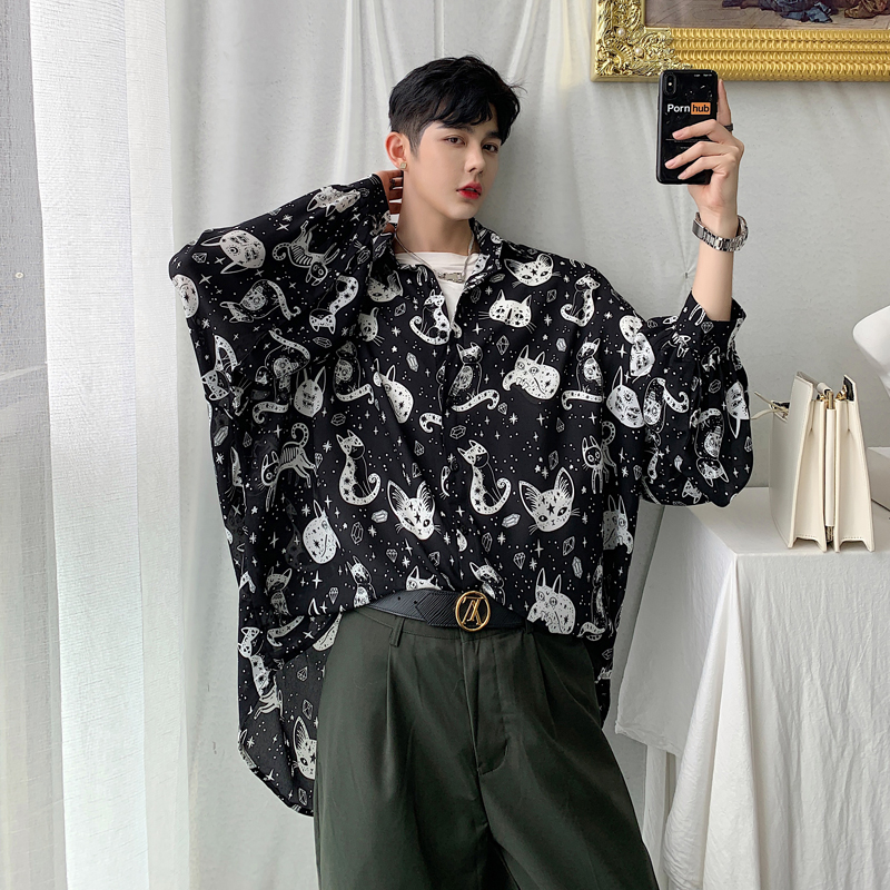 Men Long Sleeve Cat Print Loose Casual Shirt Male Women Streetwear Hip Hop Lovers Shirt Summer Cardigan Coat