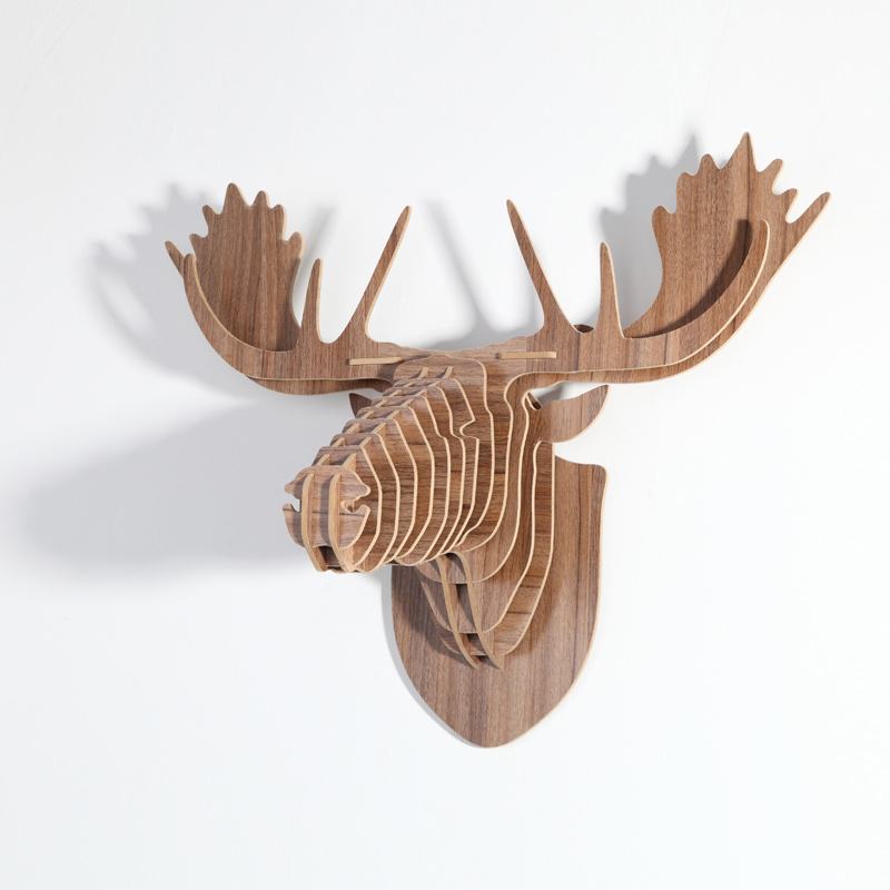 modern nordic style creative wood wall hanging of deer head diy wood animal head craft vintage - Animal Head Wall Decor