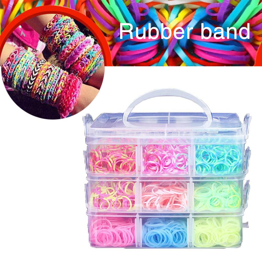 DIY Rainbow Rubber Bands Twist Loom Set Rubber Loom Bands Kits Friendship Bracelet Maker Making Kit For Kids Hand Made Ornaments