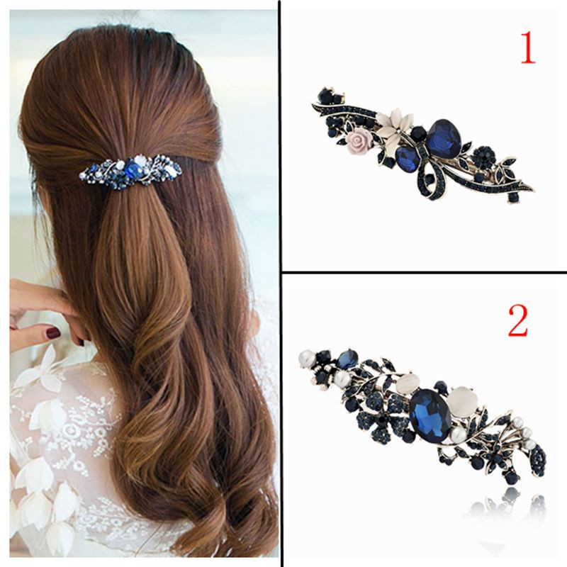 Fashion Women's Crystal  Hairpin Vintage Rhinestone Flower Hair Pin Barrette Hair Clip Hair Styling AccessoriesFash