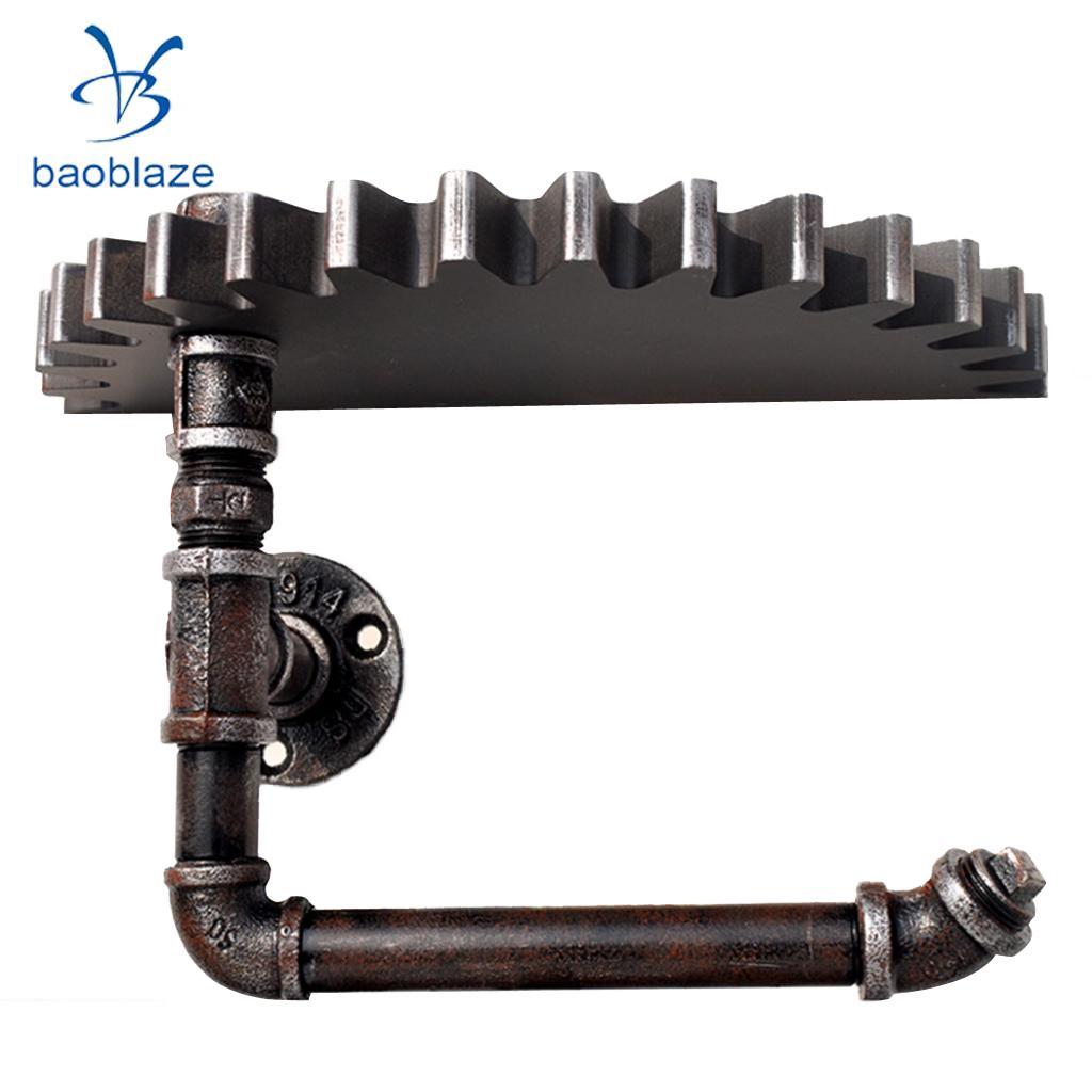 Antique Iron Pipe Tube Hook Gear Tray Shelf Toilet Paper Holder Towel Hanger Hook