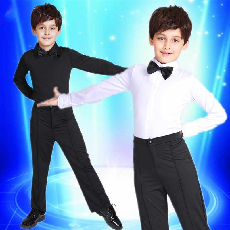 2017 Новый детский комплект одежды для латинских танцев черного и белого цвета для мальчиков, комплект для латинских танцев: рубашка + штаны, Одежда для танцев Румба/ча-ча/Самба