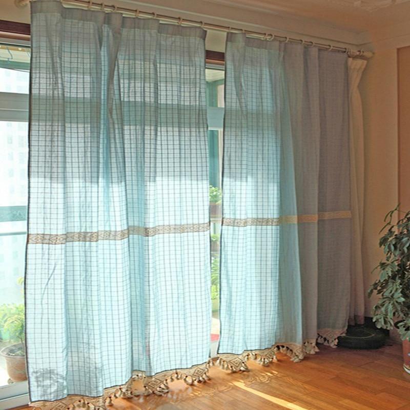 Chic Blue Beige Cotton Linen Plaid Curtains For Boys Bedroom: Retro Style Cotton&Linen Blue Plaid Splice Beige Crochet