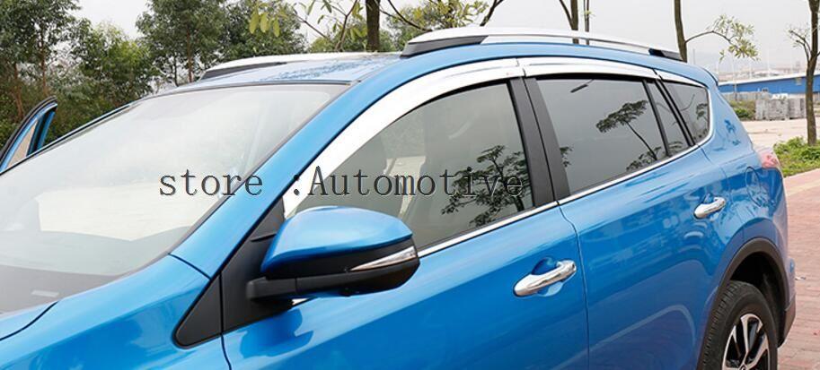 Fenêtre Vent déflecteur visière pluie/soleil garde Vent pluie sourcil 4 pièces/set2013 2014 2015 2016 pour Toyota RAV4 RAV 4 2013 2014