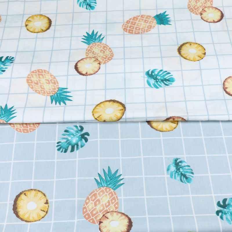 160 см * 50 см хлопчатобумажная ткань фрукты Золотой ананас голубовато-зеленые листья ткань Постельное белье с вышивкой одежды Подушка платье Лоскутная Ткань