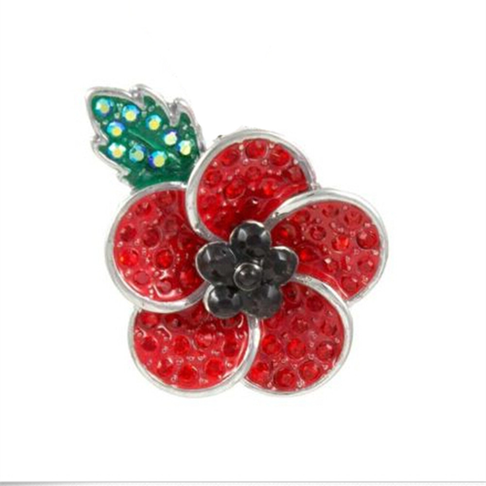 silver tone red black rhinestone crystal diamante poppy silver tone red black rhinestone crystal diamante poppy flower badge pin brooch with leaf mightylinksfo