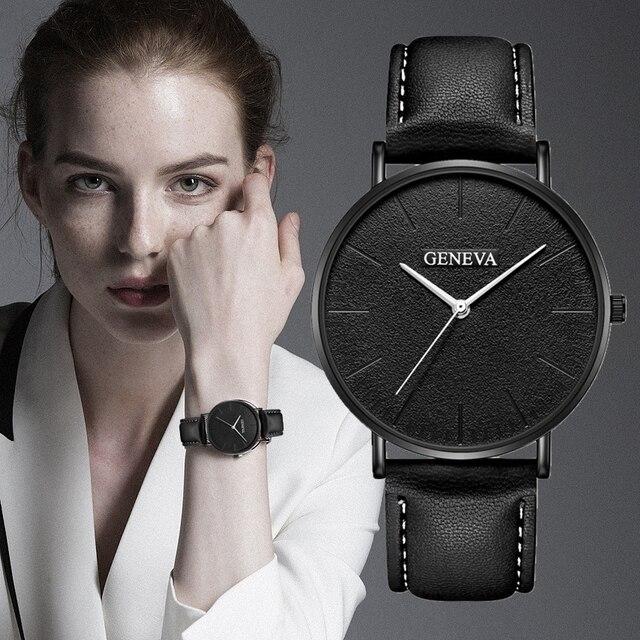 GENEVA Women Watches Ultra Thin Leather Clock Ladies Watch Women Simple Design W