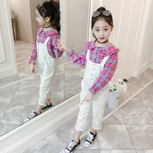 2019 Girls Spring/summer Plaid Shirt + Strap Pants Two-piece Set