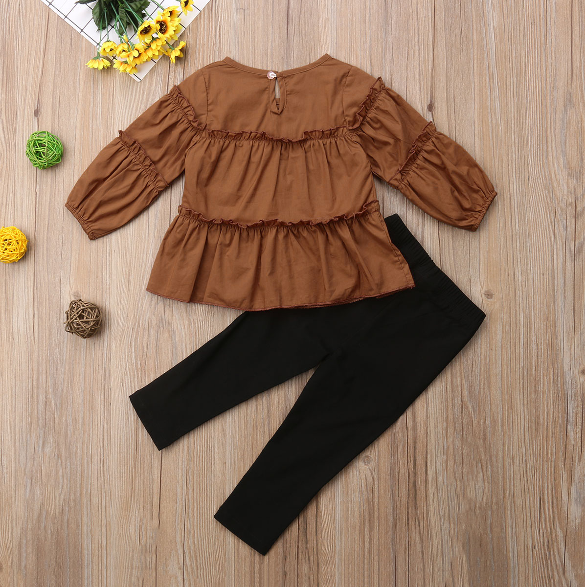 Autumn 2Pcs//Set Girls Pleated Outfits T-Shirt Tops+Long Sleeve Pants Clothes Sets