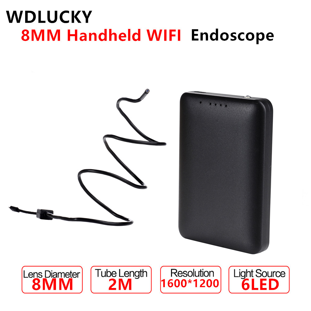 8MM WIFI Endoscope Handheld Cable 2M With 6LED Android IOS Phone USB Endoscope Waterproof  Inspection Endoscope Camera industrial endoscope wifi with android and ios 720p 6 led 8mm waterproof inspection borescope tube camera with 2m cable no usb