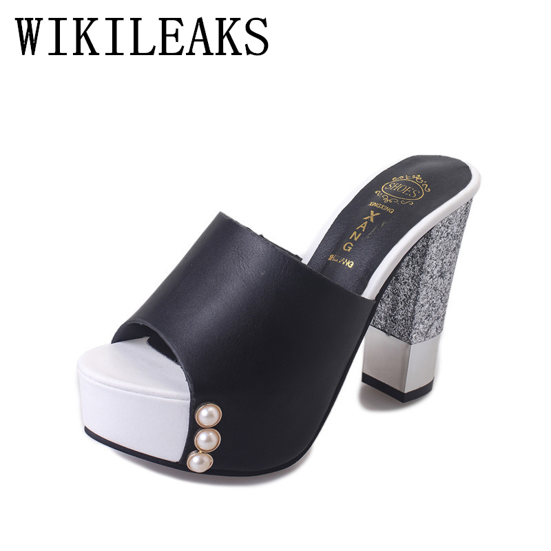 pearl platform slippers women shoes pantufa zapatos de mujer summer slides designer luxury brand sexy high heels sandals woman