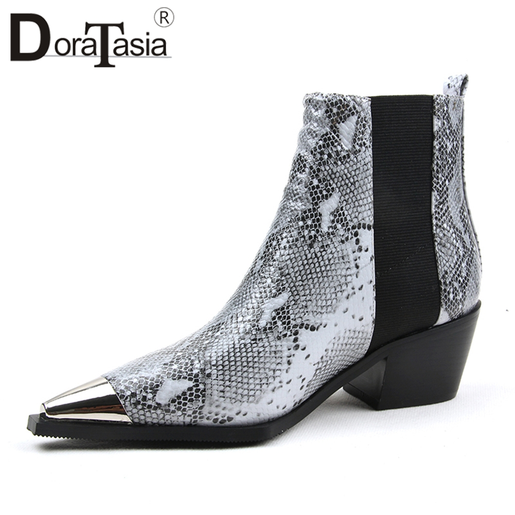 DORATASIA nouveautés livraison directe Top qualité bottines femme chaussures bande élastique Chunky talons chaussures femme bottes femme
