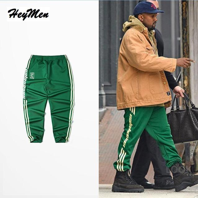 0b82f4afb106c Hot Sale Kanye West Men Women Casual Trousers hip hop striped Sweatpants  high street fashion Loose green CALABASAS pants