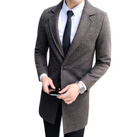 Korean Design 2018 Winter Mens Overcoat Single Button High Quality Wool Blends Long Trench Coat Men Slim Fit Woolen Pea Coat