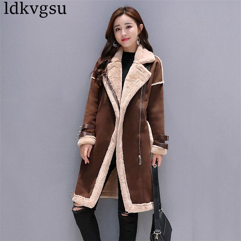2018 New Women Suede Leather Coats Long Zipper Parka Female Winter Jackets Ladies Faux Sheepskin Windbreakers Overcoat A1589