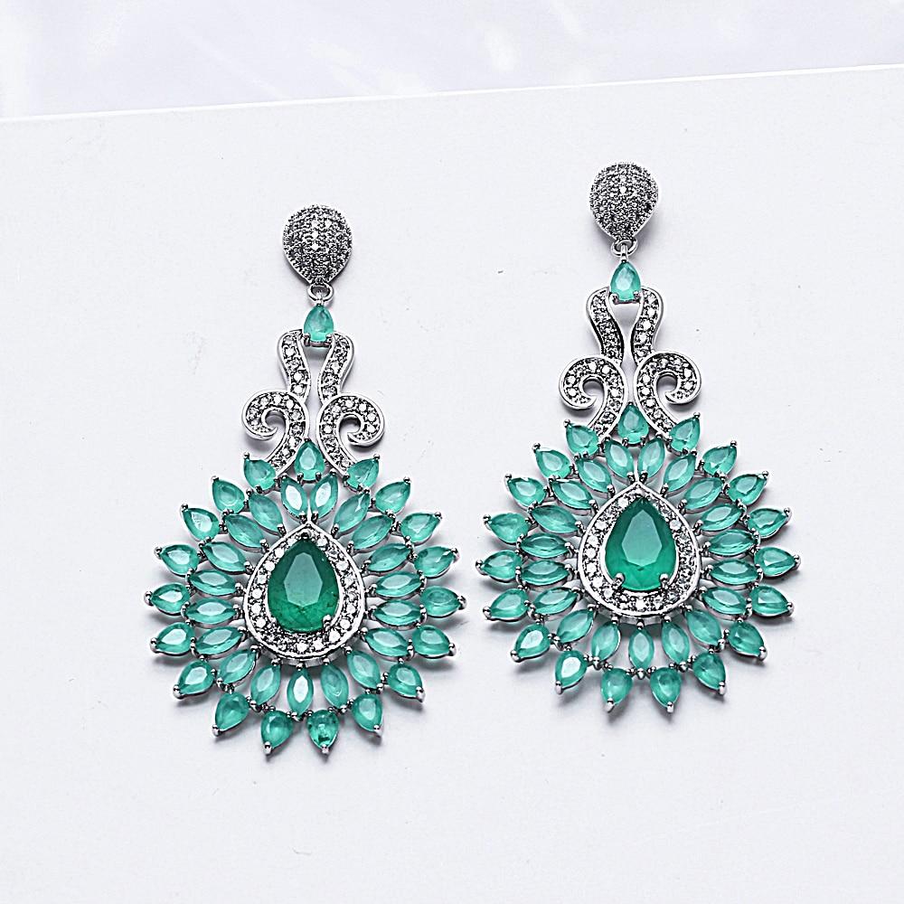Fashion Ear Drops Earrings for Women Indian Jewelry Bohemian CZ Crystal Fringe Long Tassel Statement Water Drop Earrings Bijoux stylish water drop fringe resin necklace and earrings for women