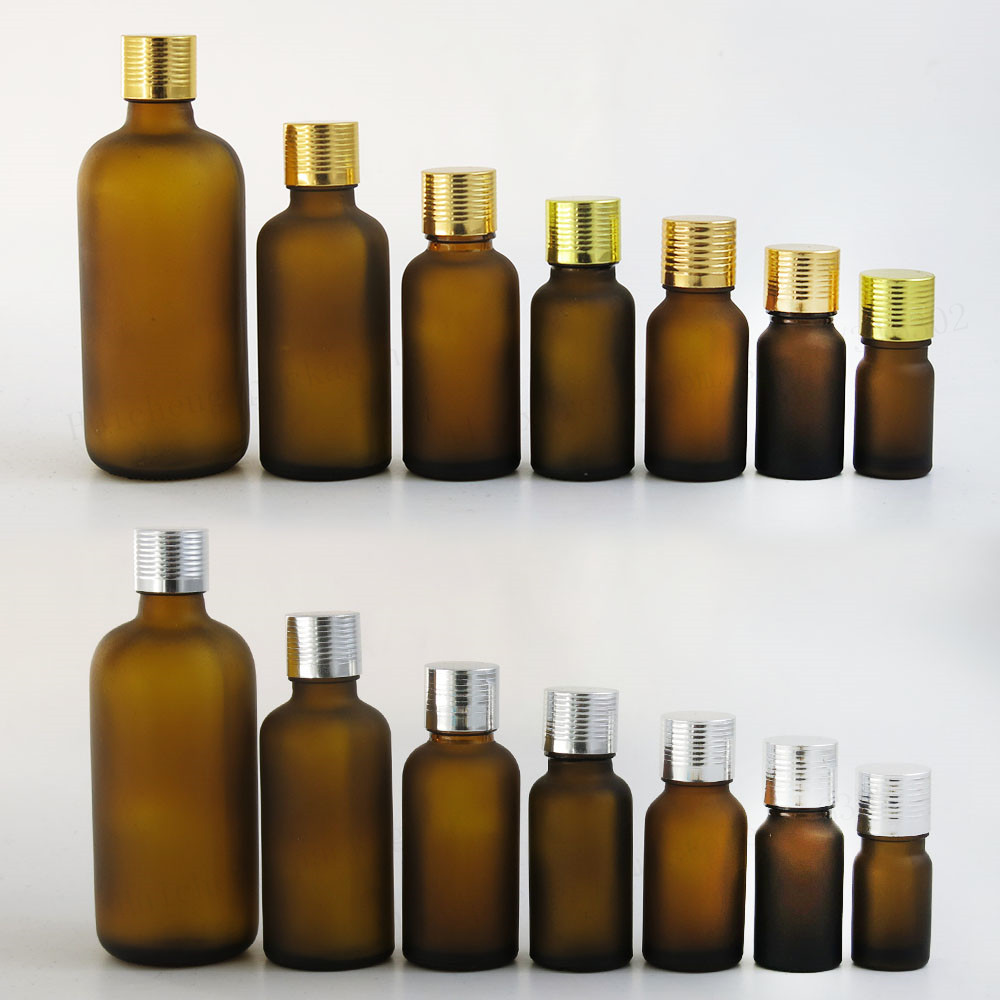 Frost Amber Brown Glass Essential Oil Bottles With Reducer Aluminum Lids 100ml 50ml 30ml 20ml 15ml 10ml 5ml 12pcs