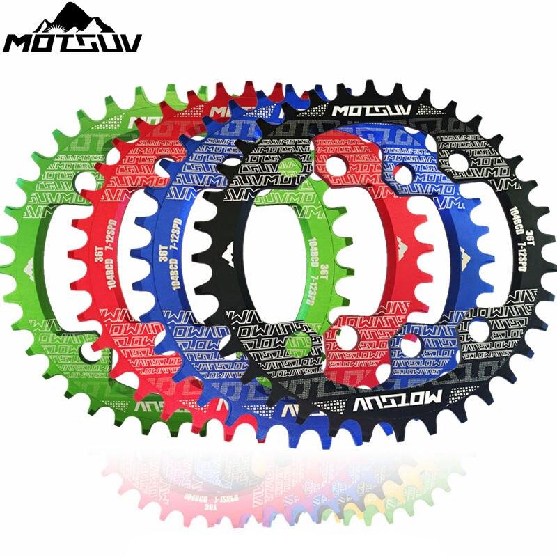 MOTSUV Bicicleta Cadeia Oval Redondo Roda de Bicicleta Crank & Chainwheel Crank 32-38 T 104BCD Estreito Largo Pedaleira Roda Dentada Peças da bicicleta