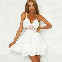 Sundress Female Summer Dress Spaghetti Strap Backless Mini Sexy Dress Women White Lace Elegant Party Dresses Robe Femme Ete 2018