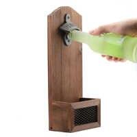 1 stücke Vintage Wand Flasche Opener Wand Bier Flasche Opener Mit Magnetische Massivholz Platte Bar Trinken Küche Zubehör