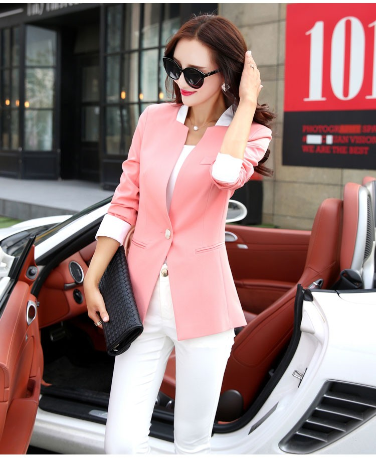 Autumn Spring Chic Office Ladies Stand Collar Blazers Pink Black Jackets For Gentle Women Silm Business Casual Wear Jaqueta Feminina bbb