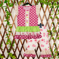 New Fashion Boutique Outfits Sets For Cute Kids Girl Summer Remake Clothes Floral Top Ruffle Capris