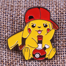 Pikachu fumo bong dello smalto pin simpatico cartone animato spilla Pokemon pop-cultura badge anime gioielli creativi zaino cappello acc bambini regalo(China)