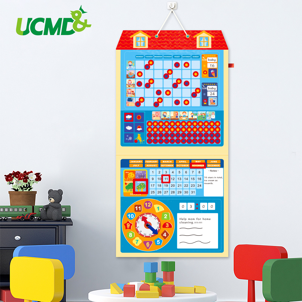 Tableau de récompense du comportement magnétique horloge d'apprentissage tableau de cible d'activité calendrier calendrier temps de croissance tableau d'enregistrement pour l'aide aux enfants