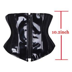 Image 3 - אופנה PVC רוכסן מותניים מאמן מחוכים למעלה שחור מפואר שעבוד Bustiers עצמות תחרה עד Steampunk Underbust Cincher S 2XL