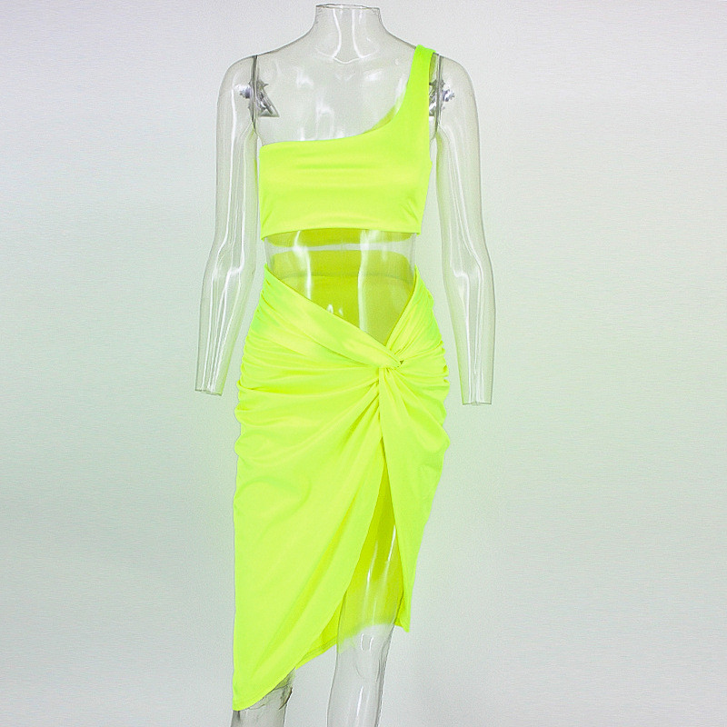 eb41a0d7ac1 BOOFEENAA Neon One Shoulder Knotted Slit Sexy Two Piece Set Crop Top And  Skirt Club Outfits 2019 Summer Dress Matching Sets-in Women's Sets from  Women's ...