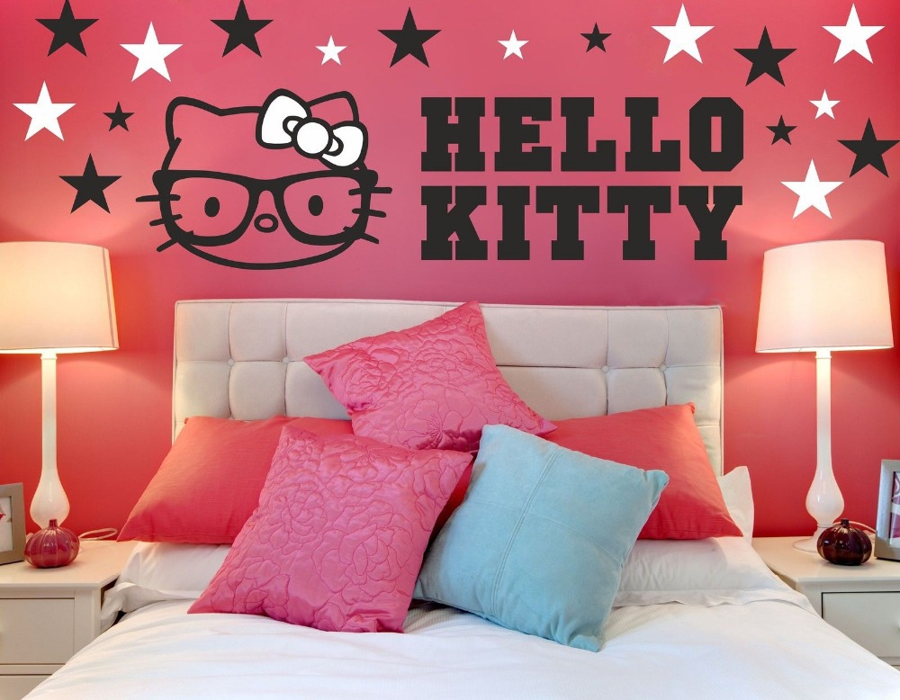 colorful hello kitty girls room wall sticker decal 66 x 70cm-in wall